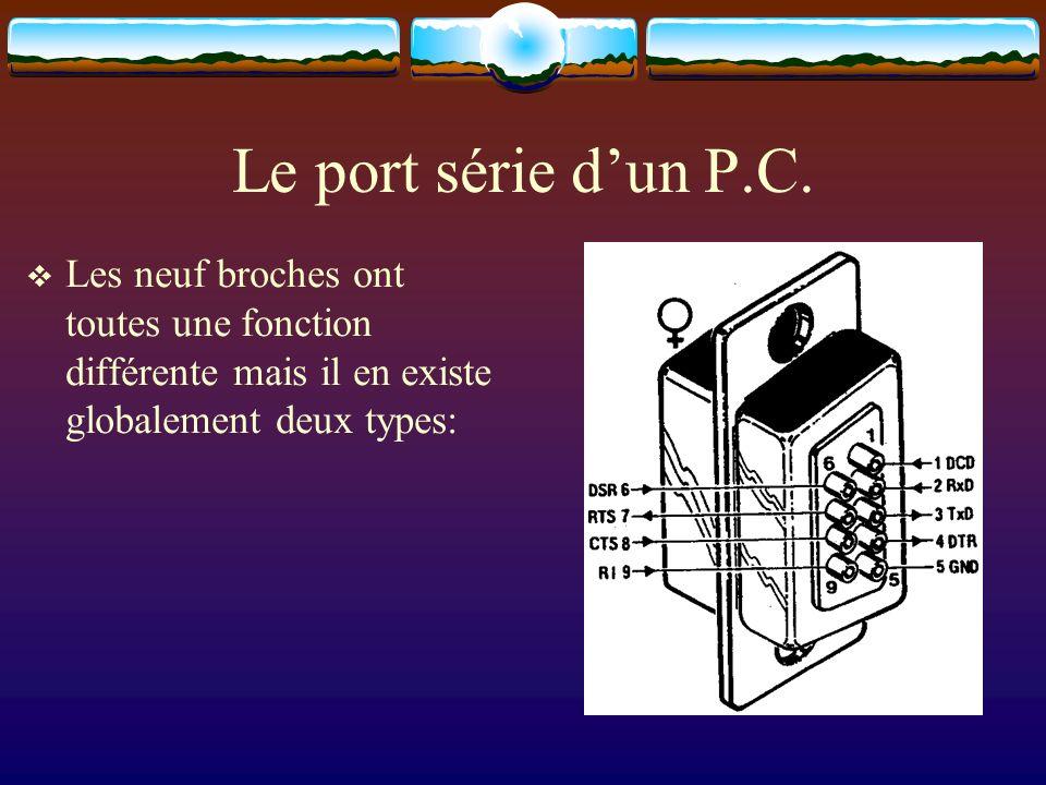 Le port série dun P.C. Les neuf broches ont toutes une fonction différente mais il en existe globalement deux types: