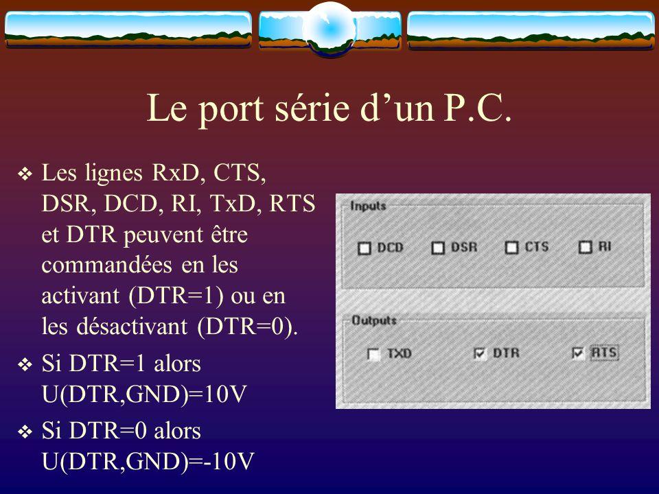 Le port série dun P.C. Les lignes RxD, CTS, DSR, DCD, RI, TxD, RTS et DTR peuvent être commandées en les activant (DTR=1) ou en les désactivant (DTR=0