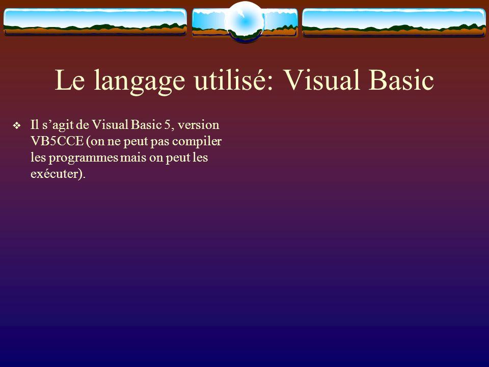 Le langage utilisé: Visual Basic Il sagit de Visual Basic 5, version VB5CCE (on ne peut pas compiler les programmes mais on peut les exécuter).