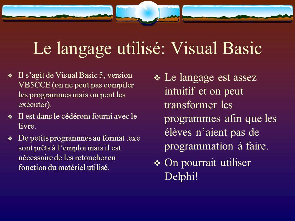 Le langage utilisé: Visual Basic Il sagit de Visual Basic 5, version VB5CCE (on ne peut pas compiler les programmes mais on peut les exécuter). Il est