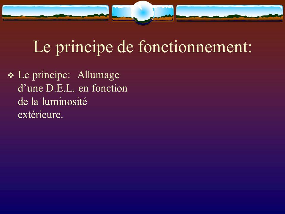 Le principe de fonctionnement: Le principe: Allumage dune D.E.L. en fonction de la luminosité extérieure.