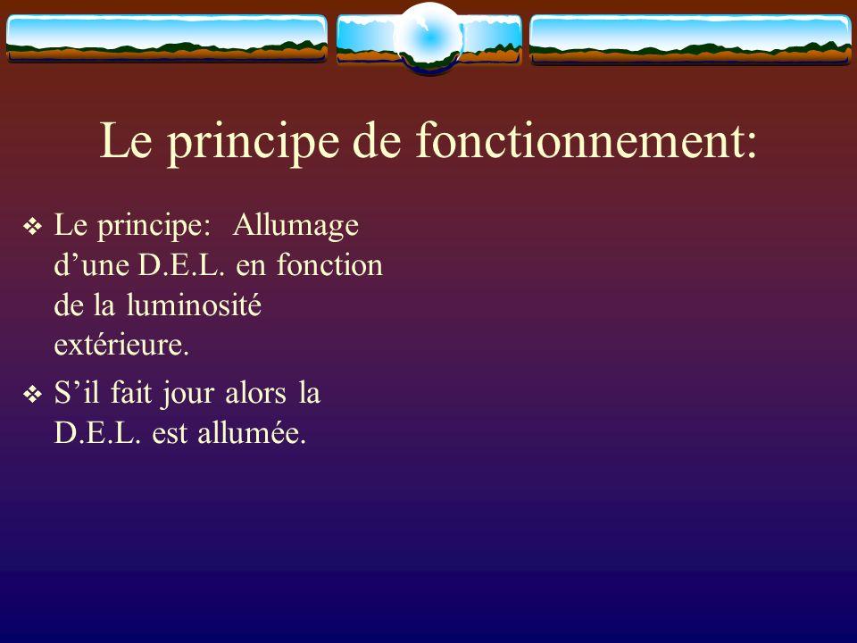 Le principe de fonctionnement: Le principe: Allumage dune D.E.L. en fonction de la luminosité extérieure. Sil fait jour alors la D.E.L. est allumée.