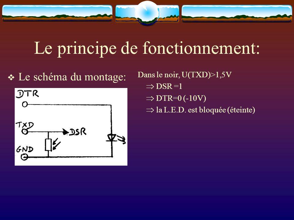 Le principe de fonctionnement: Le schéma du montage: Dans le noir, U(TXD)>1,5V DSR =1 DTR=0 (-10V) la L.E.D. est bloquée (éteinte)