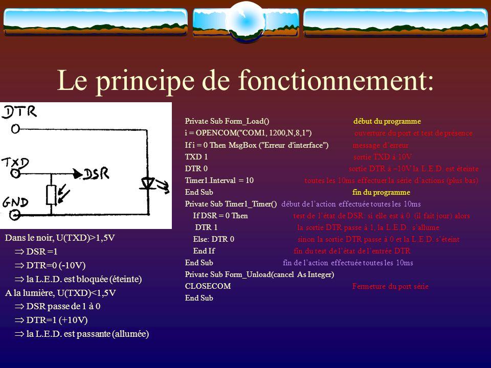 Le principe de fonctionnement: Private Sub Form_Load() début du programme i = OPENCOM(