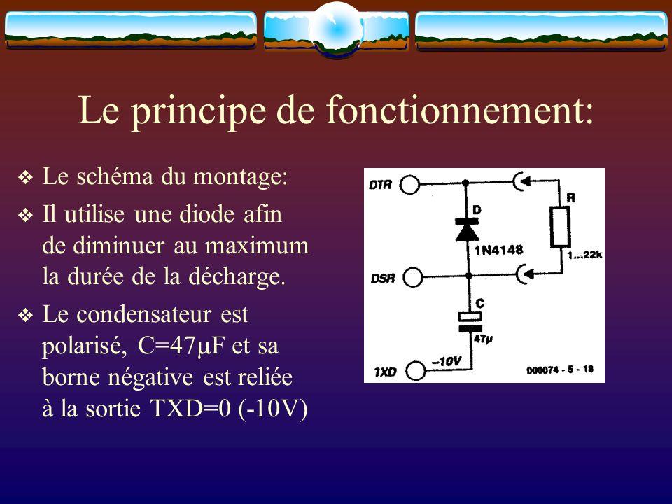 Le principe de fonctionnement: Le schéma du montage: Il utilise une diode afin de diminuer au maximum la durée de la décharge. Le condensateur est pol
