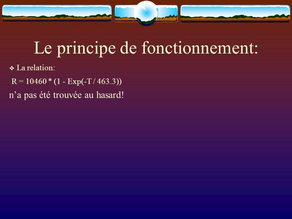 Le principe de fonctionnement: La relation: R = 10460 * (1 - Exp(-T / 463.3)) na pas été trouvée au hasard!
