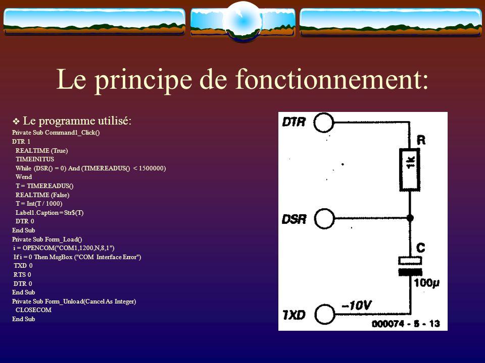 Le principe de fonctionnement: Le programme utilisé: Private Sub Command1_Click() DTR 1 REALTIME (True) TIMEINITUS While (DSR() = 0) And (TIMEREADUS()