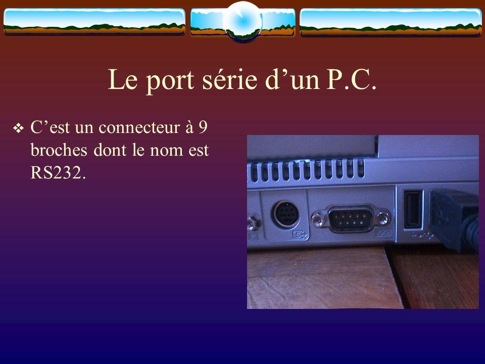 Le port série dun P.C. Cest un connecteur à 9 broches dont le nom est RS232.