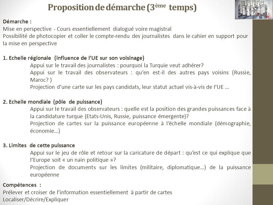 Proposition de démarche (3 ème temps) Démarche : Mise en perspective - Cours essentiellement dialogué voire magistral Possibilité de photocopier et co