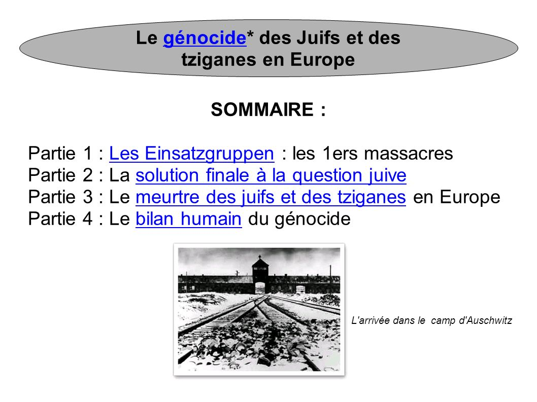 Le génocide* des Juifs et des tziganes en Europegénocide SOMMAIRE : Partie 1 : Les Einsatzgruppen : les 1ers massacresLes Einsatzgruppen Partie 2 : La