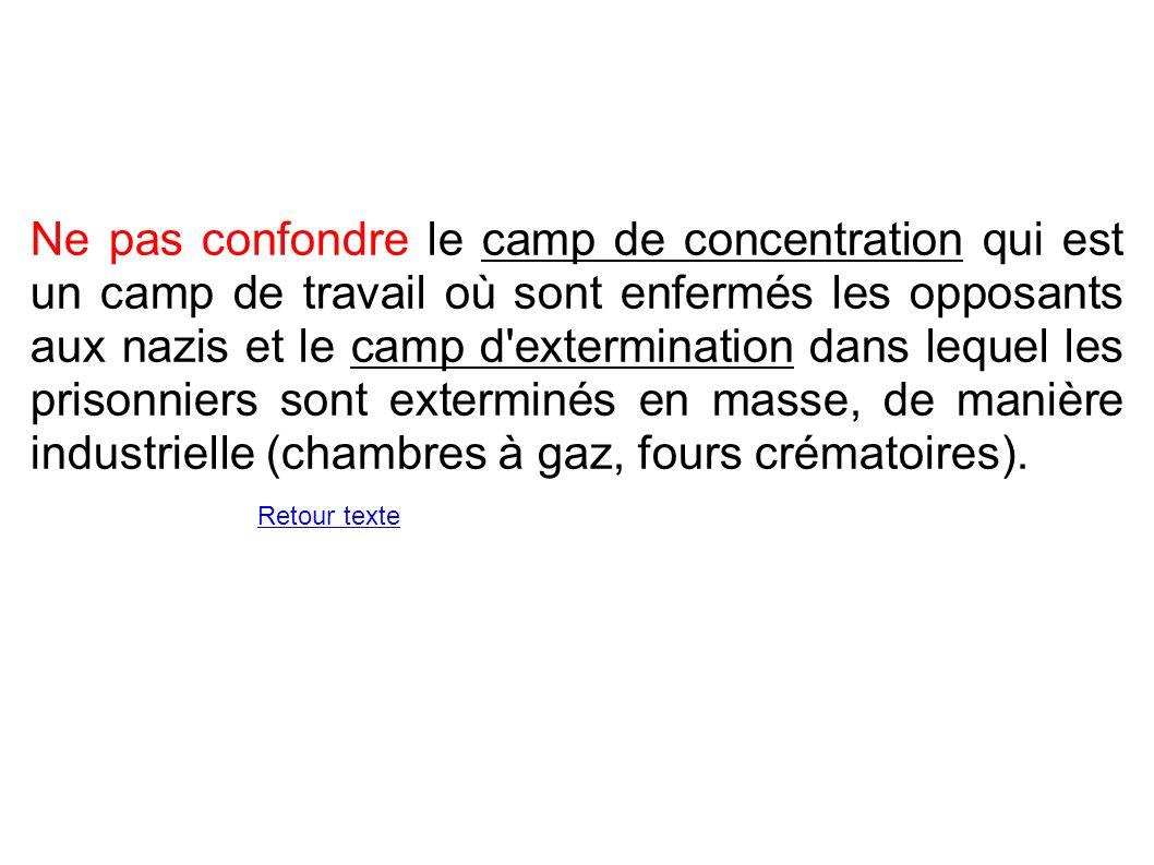 Ne pas confondre le camp de concentration qui est un camp de travail où sont enfermés les opposants aux nazis et le camp d'extermination dans lequel l