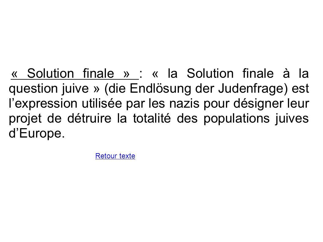 « Solution finale » : « la Solution finale à la question juive » (die Endlösung der Judenfrage) est lexpression utilisée par les nazis pour désigner l