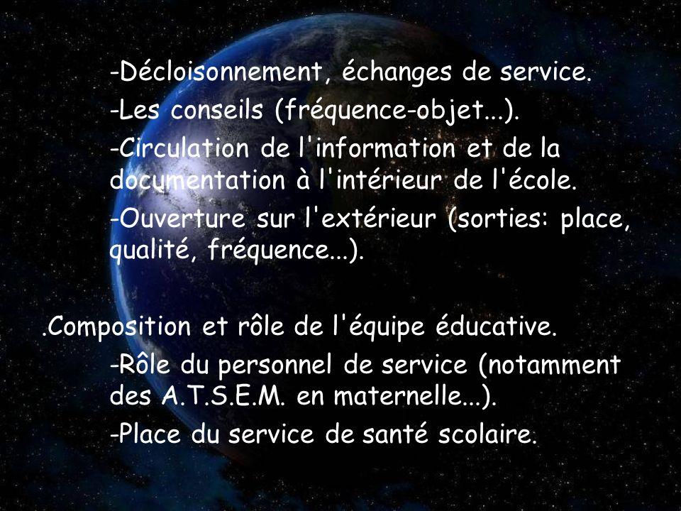 -Décloisonnement, échanges de service. -Les conseils (fréquence-objet...). -Circulation de l'information et de la documentation à l'intérieur de l'éco