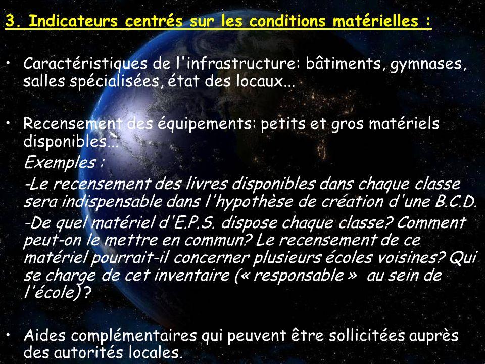 3. Indicateurs centrés sur les conditions matérielles : Caractéristiques de l'infrastructure: bâtiments, gymnases, salles spécialisées, état des locau