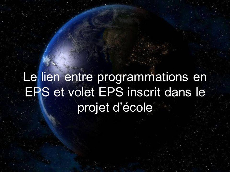 Le lien entre programmations en EPS et volet EPS inscrit dans le projet décole
