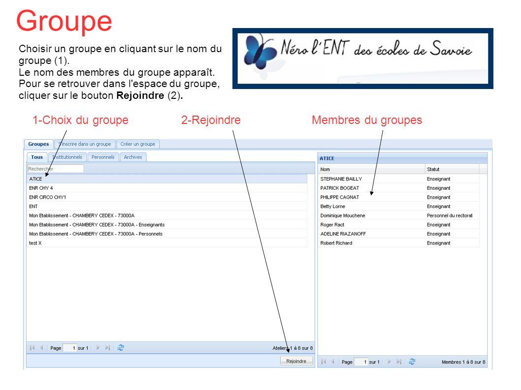 Choisir un groupe en cliquant sur le nom du groupe (1). Le nom des membres du groupe apparaît. Pour se retrouver dans l'espace du groupe, cliquer sur