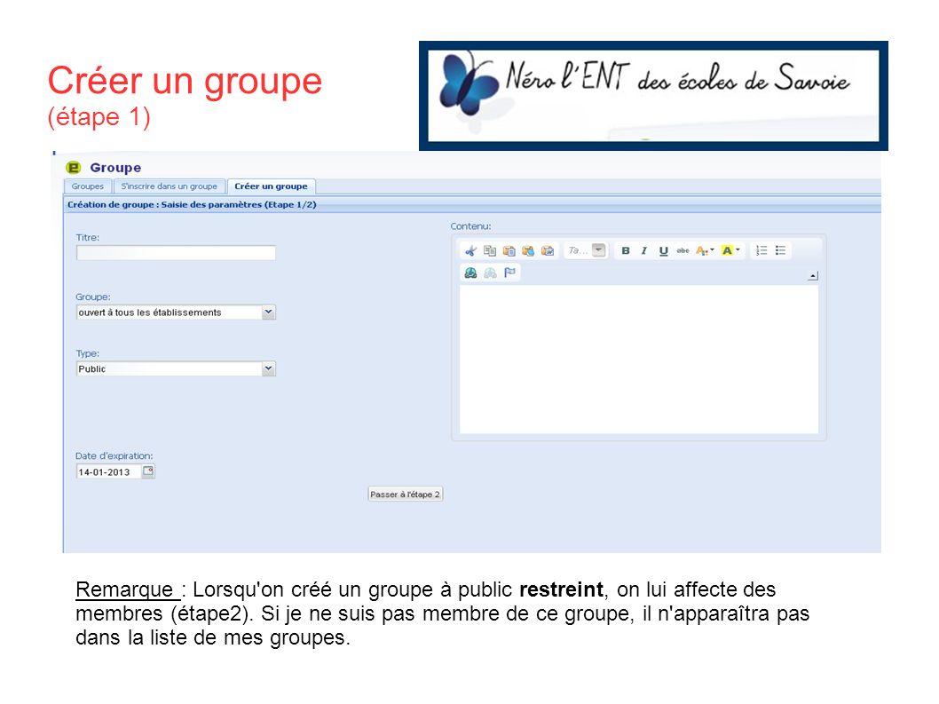 Créer un groupe (étape 1) Remarque : Lorsqu'on créé un groupe à public restreint, on lui affecte des membres (étape2). Si je ne suis pas membre de ce