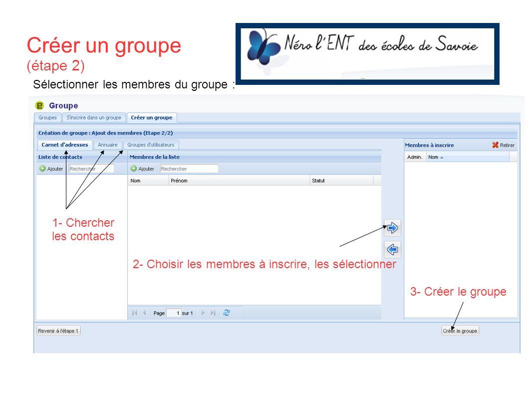 Créer un groupe (étape 2) 1- Chercher les contacts 2- Choisir les membres à inscrire, les sélectionner 3- Créer le groupe Sélectionner les membres du