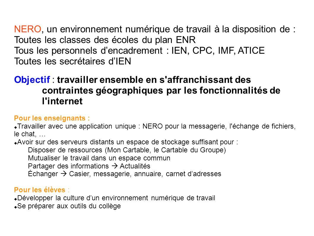 NERO, un environnement numérique de travail à la disposition de : Toutes les classes des écoles du plan ENR Tous les personnels dencadrement : IEN, CP