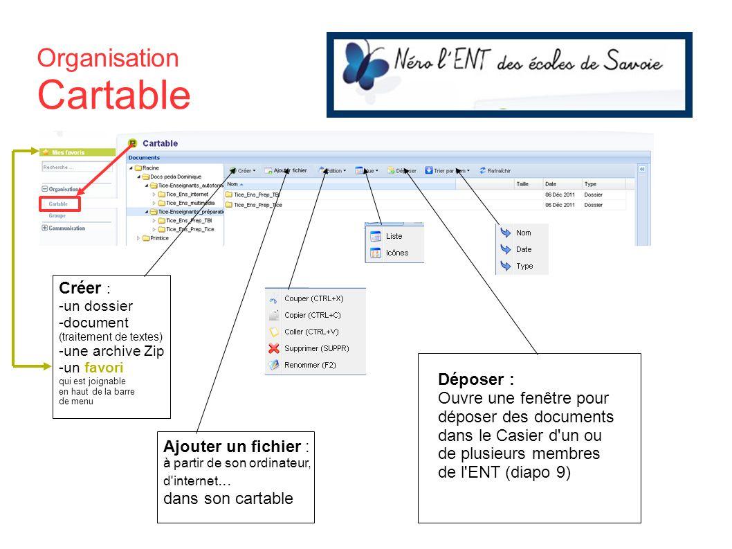 Organisation Cartable Créer : -un dossier -document (traitement de textes) -une archive Zip -un favori qui est joignable en haut de la barre de menu A