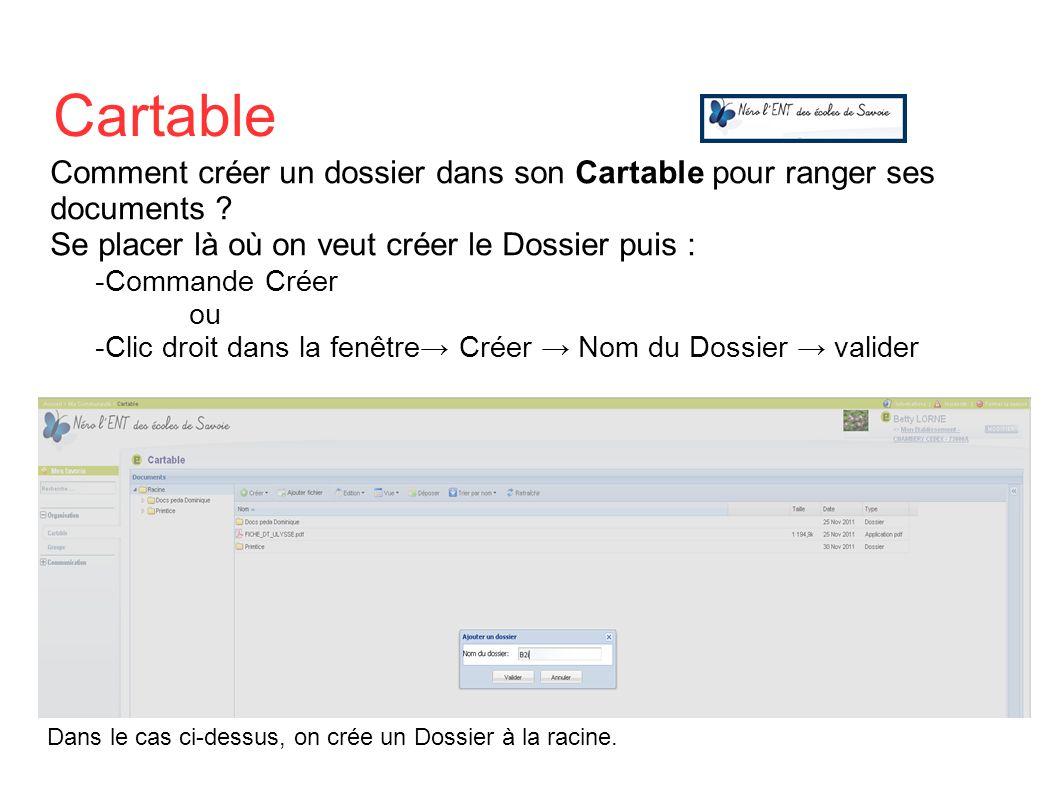 Comment créer un dossier dans son Cartable pour ranger ses documents ? Se placer là où on veut créer le Dossier puis : -Commande Créer ou -Clic droit