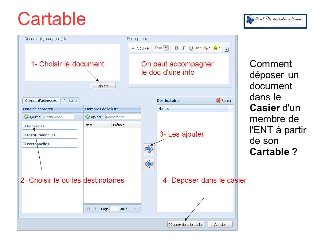 Comment déposer un document dans le Casier d'un membre de l'ENT à partir de son Cartable ? 1- Choisir le document 2- Choisir le ou les destinataires 3