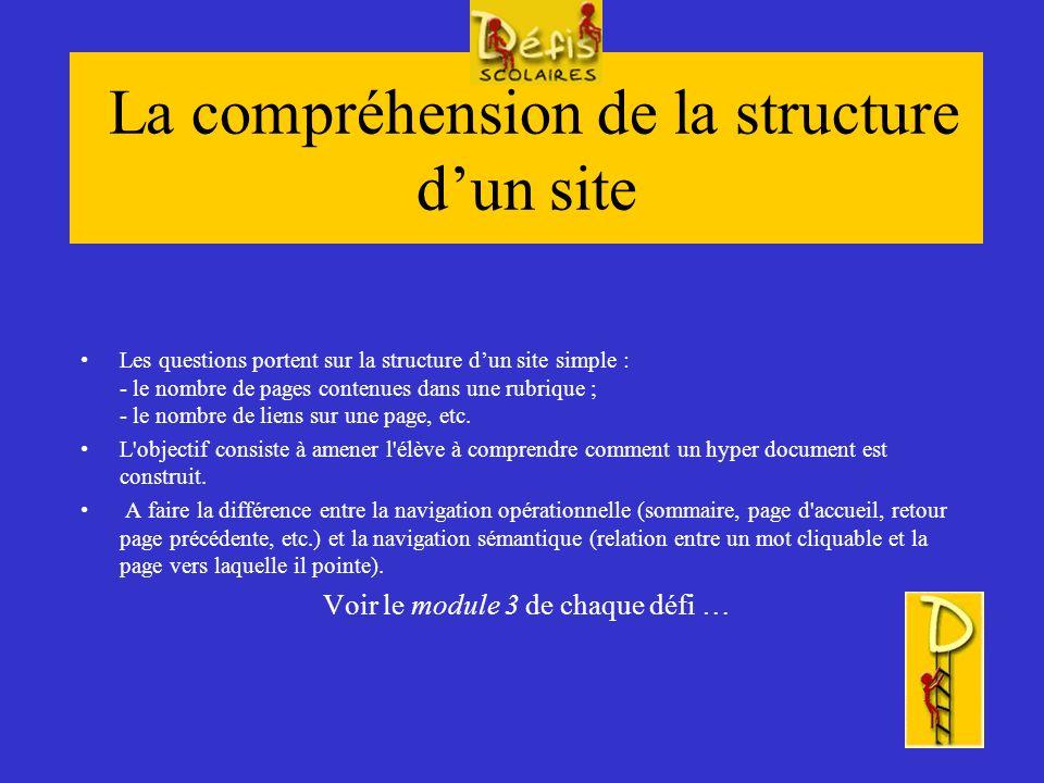 La recherche de sites A travers quelques situations simples, l élève apprend à se construire des stratégies pour organiser une recherche sur le web.