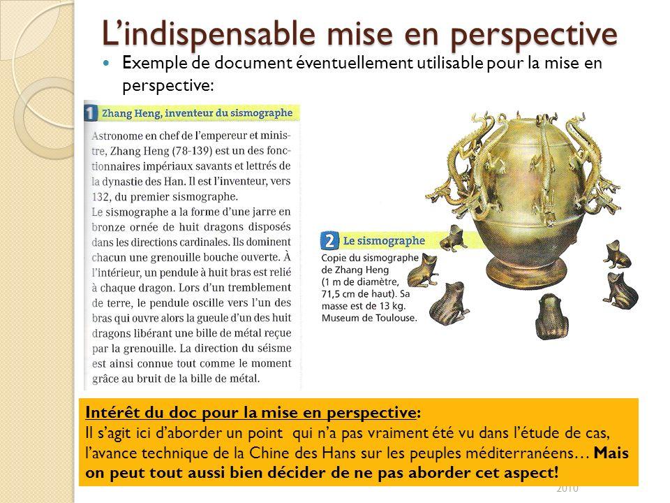 Lindispensable mise en perspective O.Ramirès/ R2P2 2010 Exemple de document éventuellement utilisable pour la mise en perspective: Intérêt du doc pour