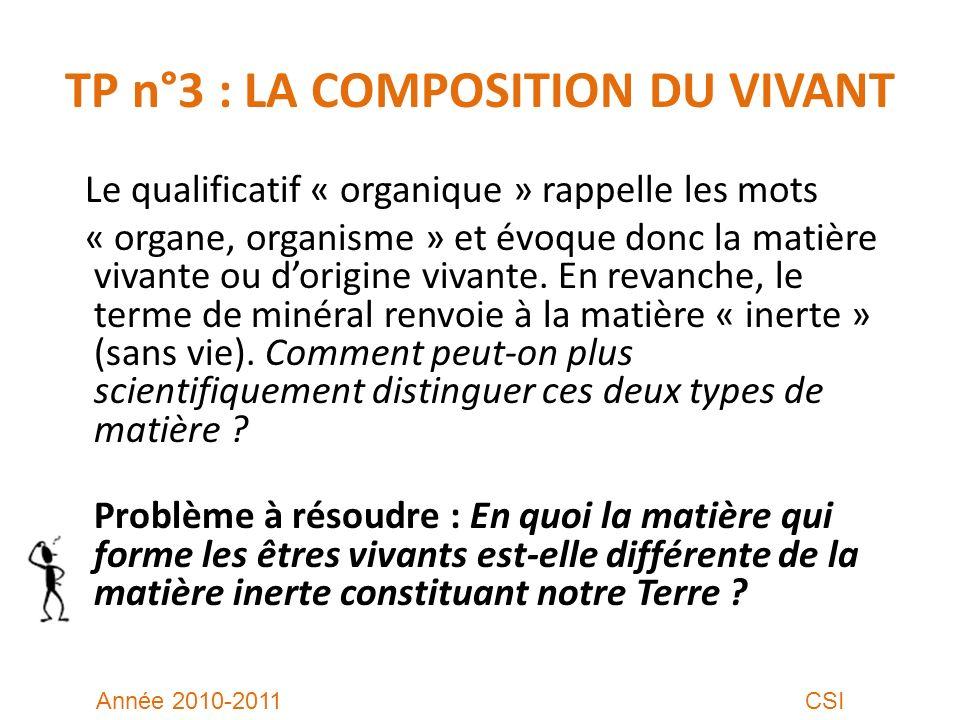 TP n°3 : LA COMPOSITION DU VIVANT Le qualificatif « organique » rappelle les mots « organe, organisme » et évoque donc la matière vivante ou dorigine