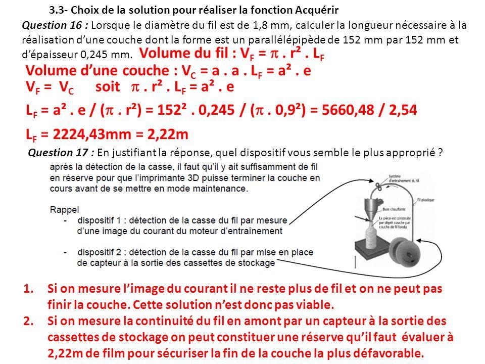 Question 16 : Lorsque le diamètre du fil est de 1,8 mm, calculer la longueur nécessaire à la réalisation dune couche dont la forme est un parallélépip