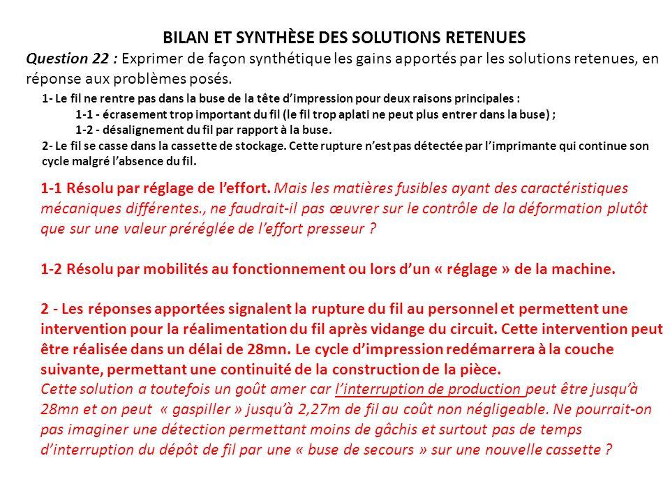 BILAN ET SYNTHÈSE DES SOLUTIONS RETENUES Question 22 : Exprimer de façon synthétique les gains apportés par les solutions retenues, en réponse aux pro