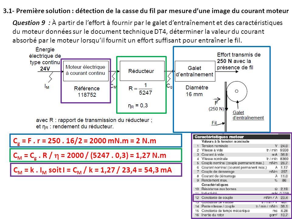Question 9 : À partir de leffort à fournir par le galet dentraînement et des caractéristiques du moteur données sur le document technique DT4, détermi