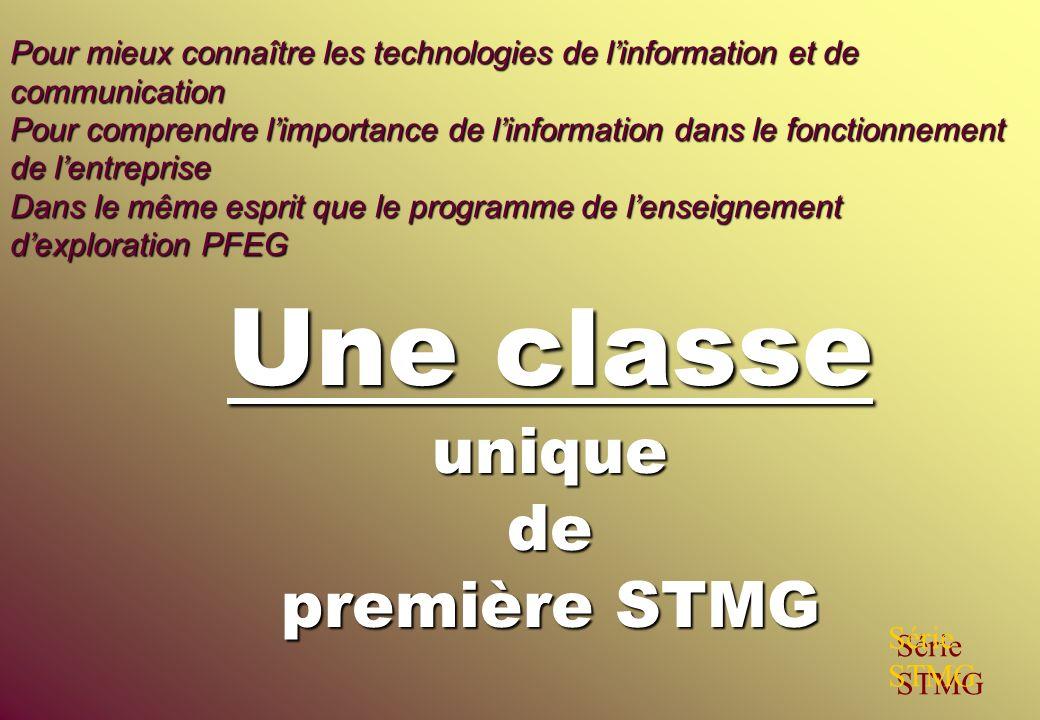 Une classe unique de première STMG Série STMG Pour mieux connaître les technologies de linformation et de communication Pour comprendre limportance de