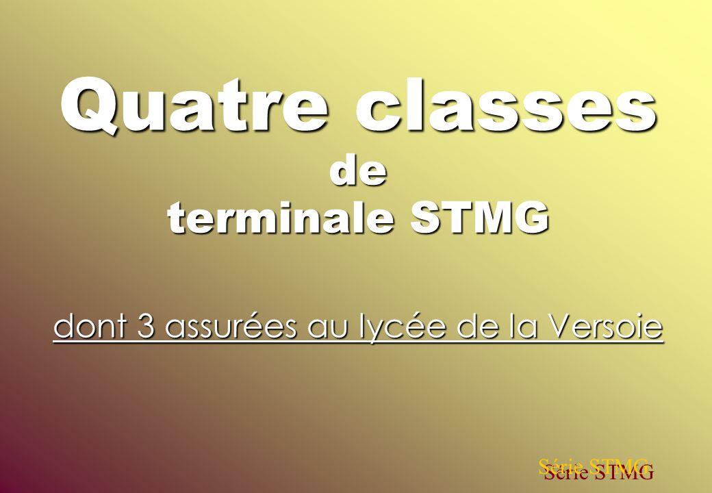 Quatre classes de terminale STMG dont 3 assurées au lycée de la Versoie Série STMG