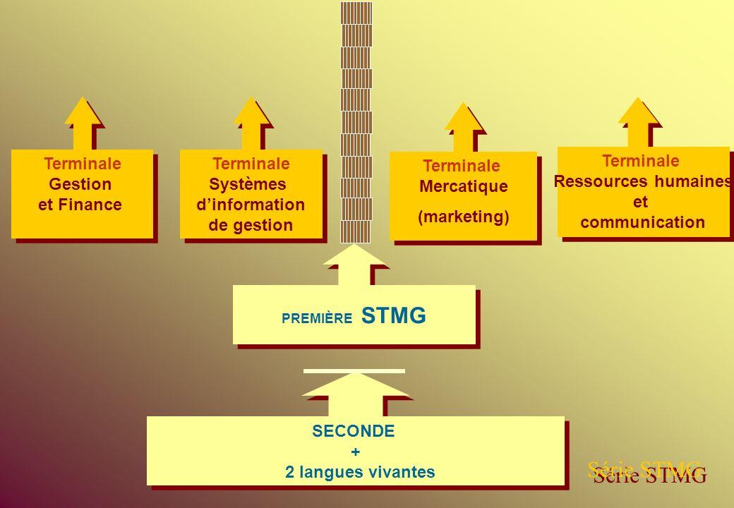 SECONDE + 2 langues vivantes SECONDE + 2 langues vivantes PREMIÈRE STMG Série STMG Terminale Systèmes dinformation de gestion Terminale Systèmes dinfo