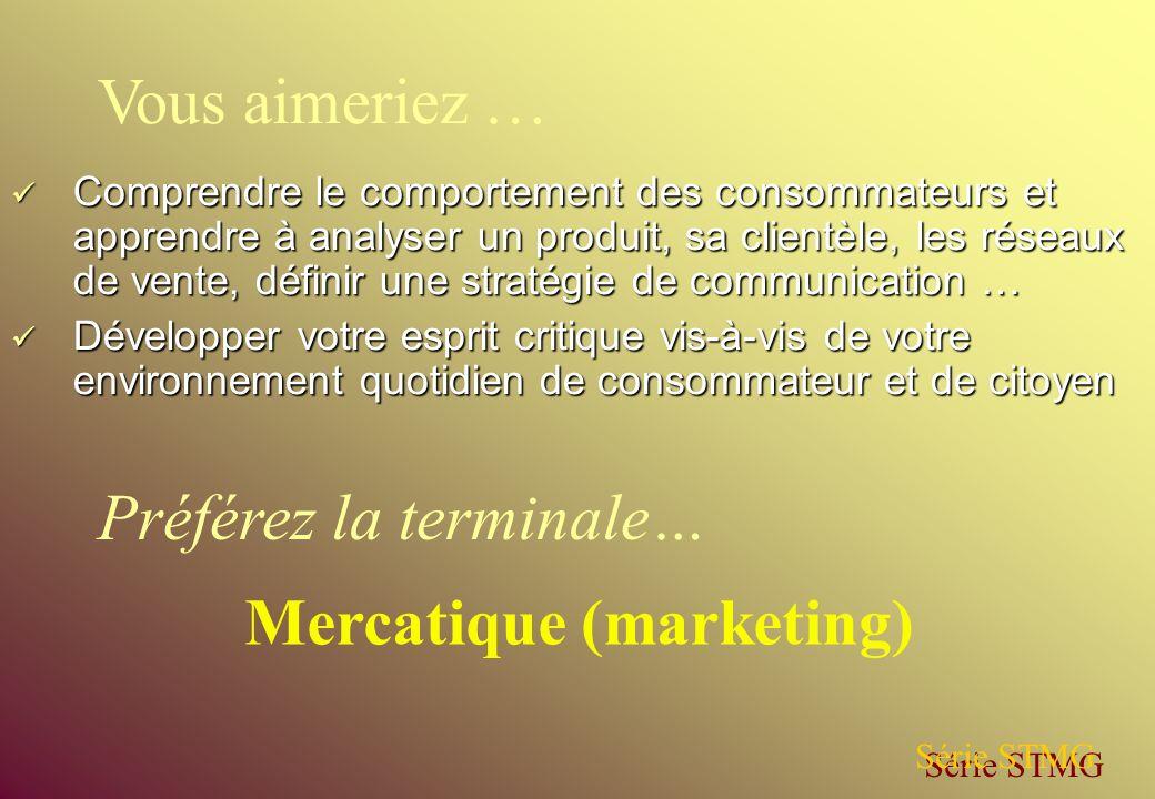 Comprendre le comportement des consommateurs et apprendre à analyser un produit, sa clientèle, les réseaux de vente, définir une stratégie de communic
