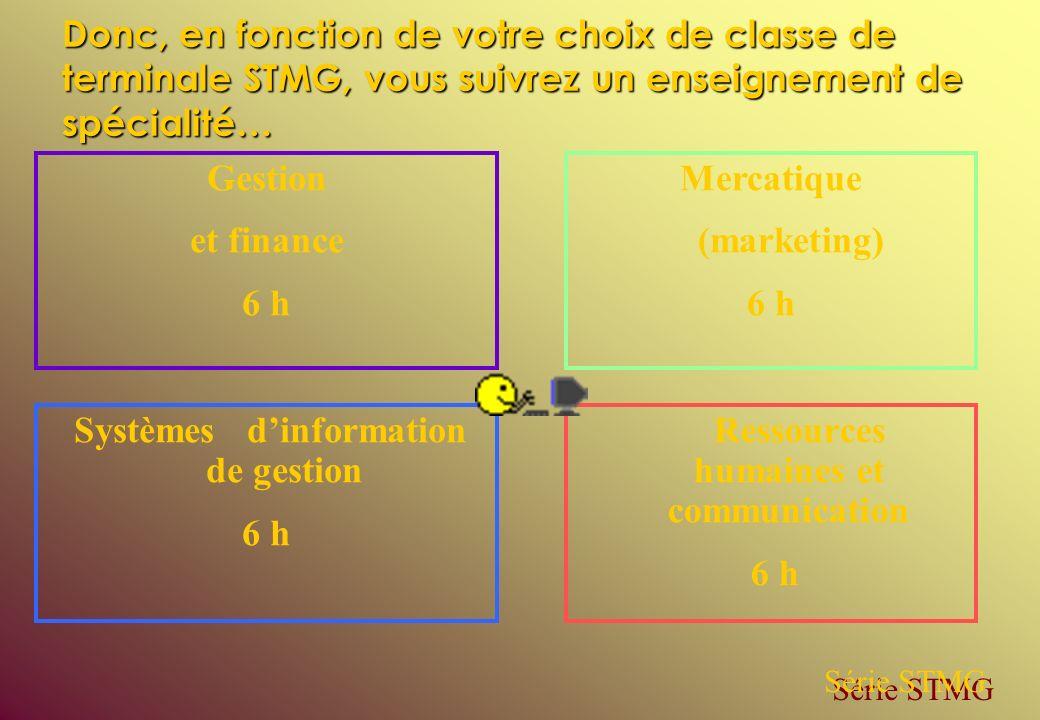 Ressources humaines et communication 6 h Mercatique (marketing) 6 h Systèmes dinformation de gestion 6 h Gestion et finance 6 h Série STMG Donc, en fo