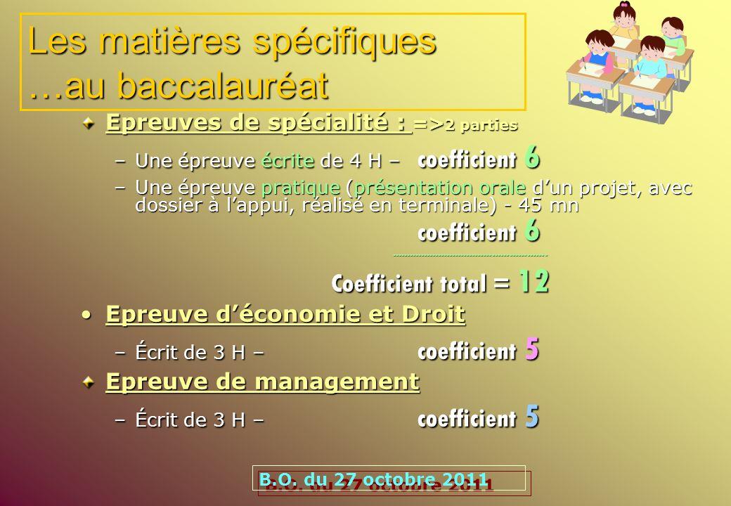 Les matières spécifiques …au baccalauréat Epreuves de spécialité : => 2 parties –Une épreuve écrite de 4 H – coefficient 6 –Une épreuve pratique (prés