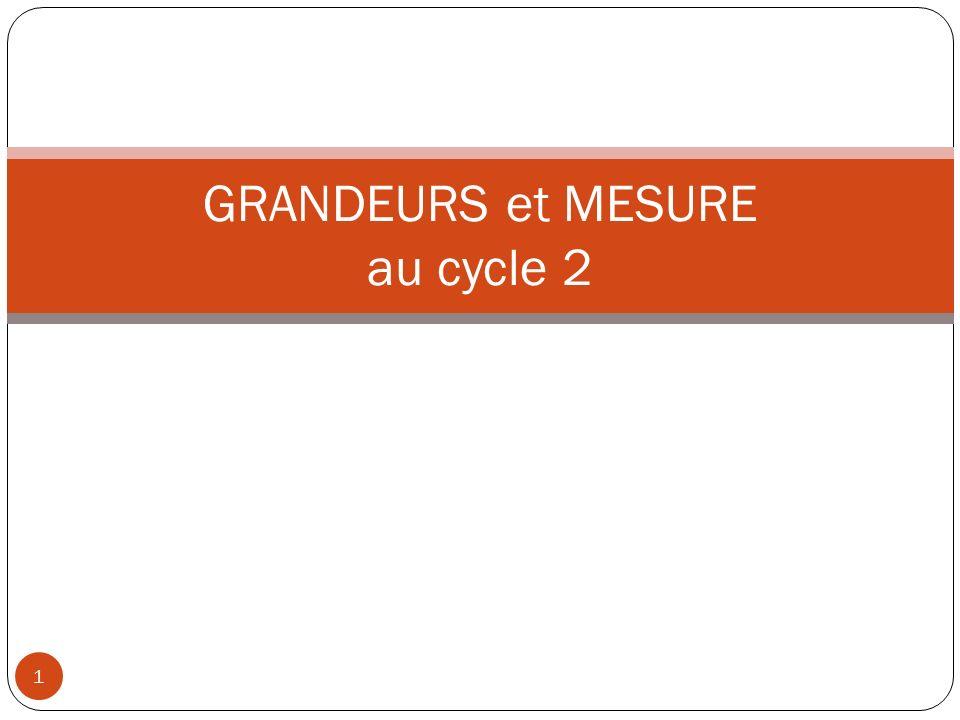 GRANDEURS et MESURE au cycle 2 1