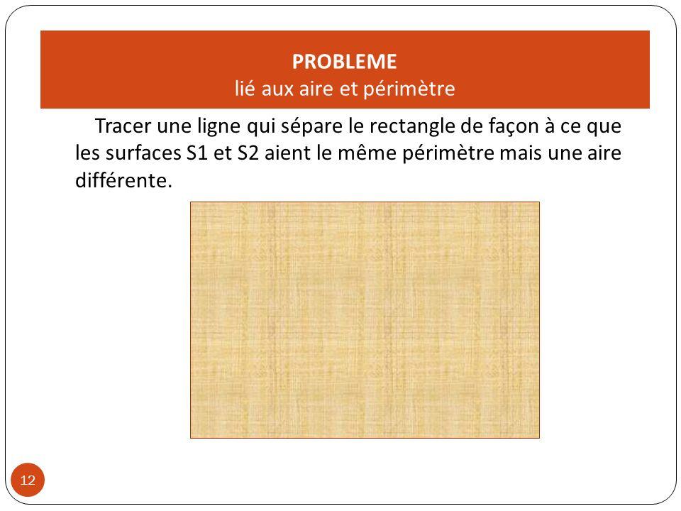 PROBLEME lié aux aire et périmètre Tracer une ligne qui sépare le rectangle de façon à ce que les surfaces S1 et S2 aient le même périmètre mais une aire différente.
