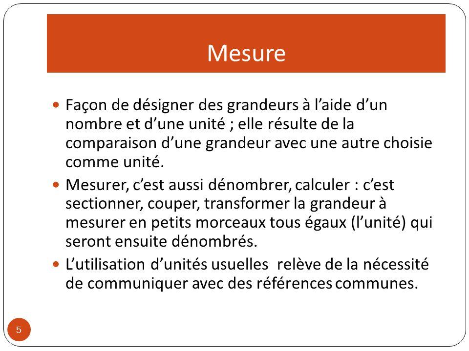 Mesure 5 Façon de désigner des grandeurs à laide dun nombre et dune unité ; elle résulte de la comparaison dune grandeur avec une autre choisie comme unité.