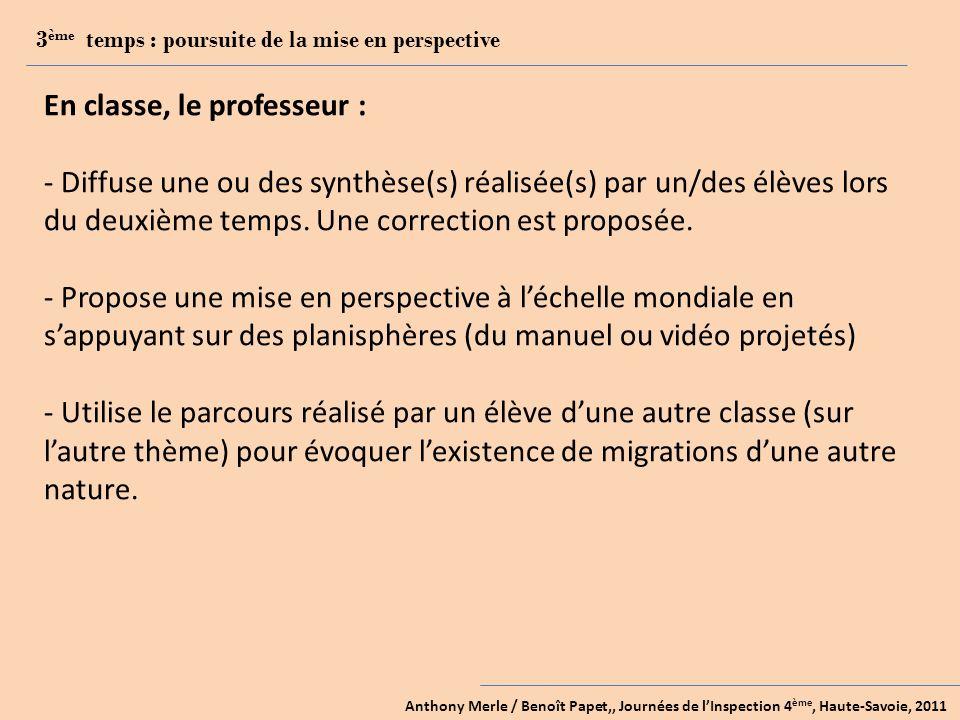 Anthony Merle / Benoît Papet,, Journées de lInspection 4 ème, Haute-Savoie, 2011 3 ème temps : poursuite de la mise en perspective En classe, le professeur : - Diffuse une ou des synthèse(s) réalisée(s) par un/des élèves lors du deuxième temps.