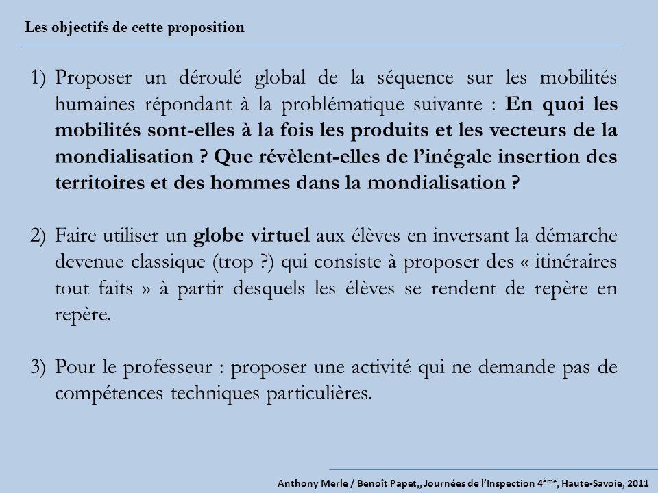 Anthony Merle / Benoît Papet,, Journées de lInspection 4 ème, Haute-Savoie, 2011 Les objectifs de cette proposition 1)Proposer un déroulé global de la