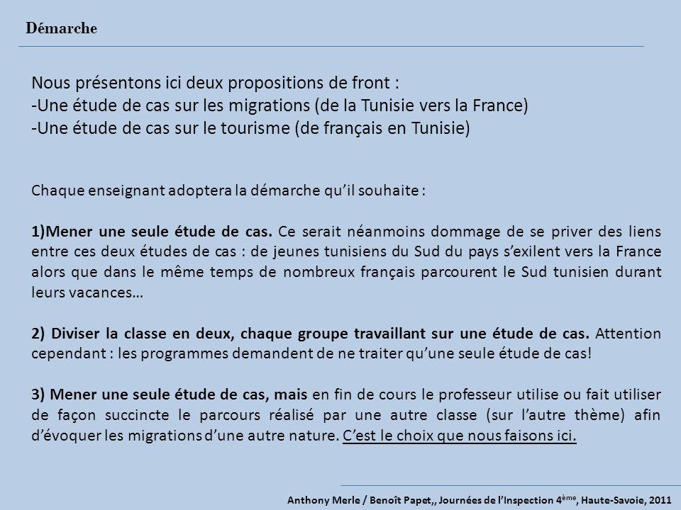 Anthony Merle / Benoît Papet,, Journées de lInspection 4 ème, Haute-Savoie, 2011 Démarche Nous présentons ici deux propositions de front : -Une étude