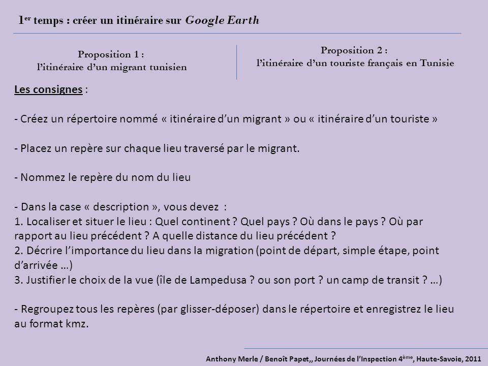 Anthony Merle / Benoît Papet,, Journées de lInspection 4 ème, Haute-Savoie, 2011 1 er temps : créer un itinéraire sur Google Earth Proposition 1 : lit