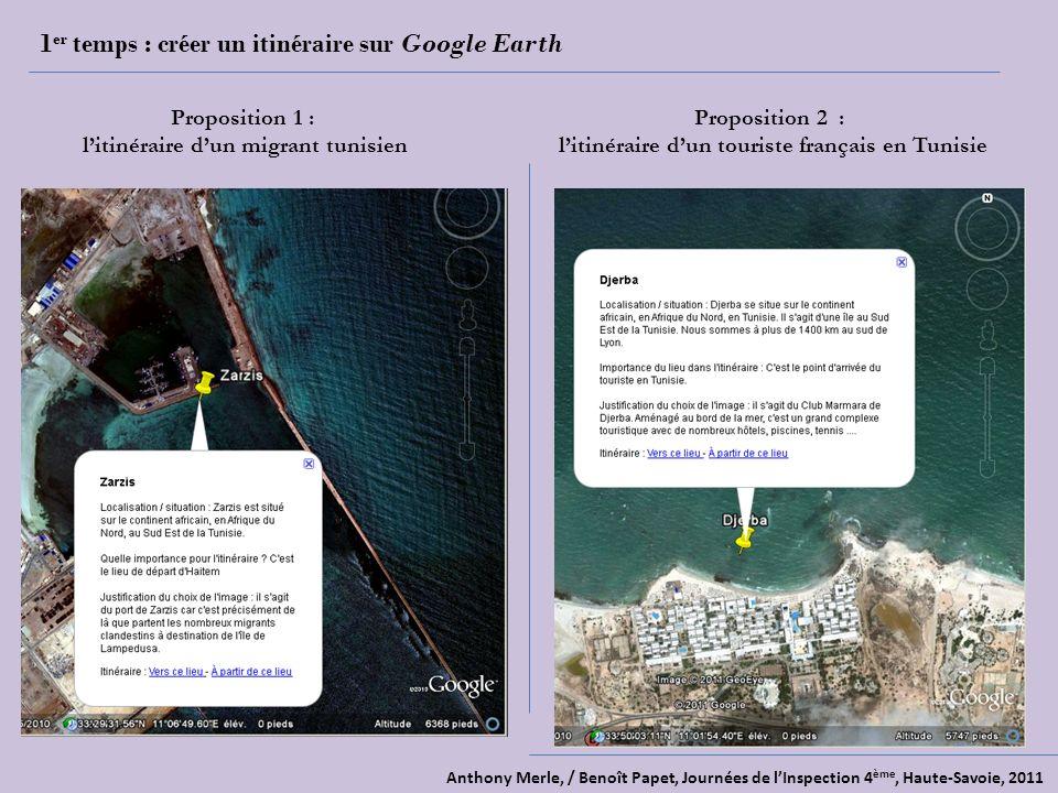 Anthony Merle, / Benoît Papet, Journées de lInspection 4 ème, Haute-Savoie, 2011 1 er temps : créer un itinéraire sur Google Earth Proposition 1 : litinéraire dun migrant tunisien Proposition 2 : litinéraire dun touriste français en Tunisie