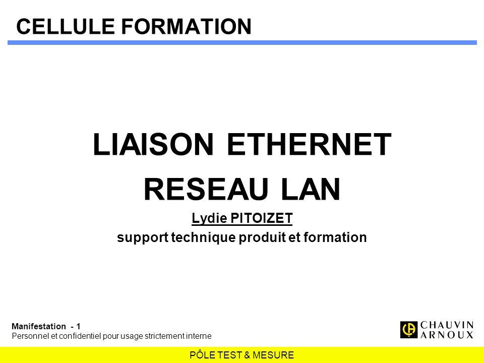 PÔLE TEST & MESURE Manifestation - 1 Personnel et confidentiel pour usage strictement interne CELLULE FORMATION LIAISON ETHERNET RESEAU LAN Lydie PITO