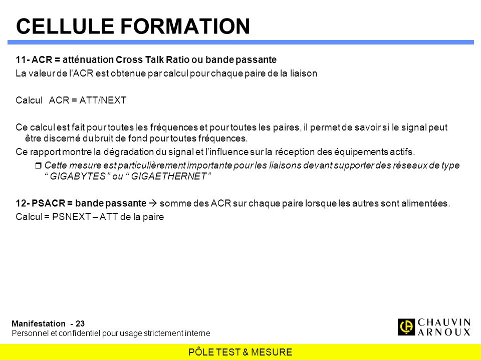 PÔLE TEST & MESURE Manifestation - 23 Personnel et confidentiel pour usage strictement interne CELLULE FORMATION 11- ACR = atténuation Cross Talk Rati