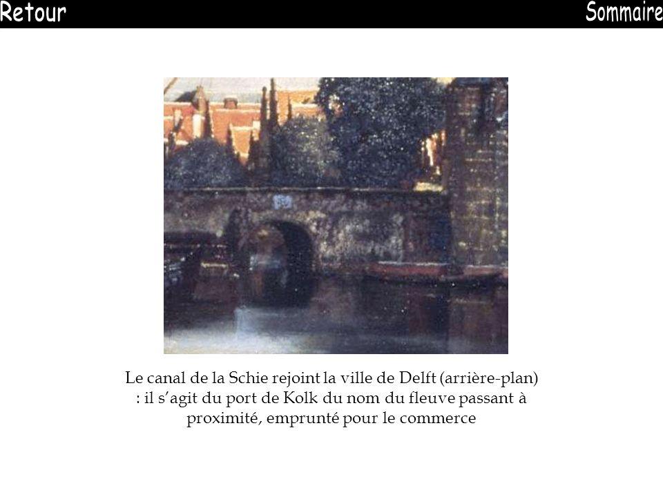 Le canal de la Schie rejoint la ville de Delft (arrière-plan) : il sagit du port de Kolk du nom du fleuve passant à proximité, emprunté pour le commer