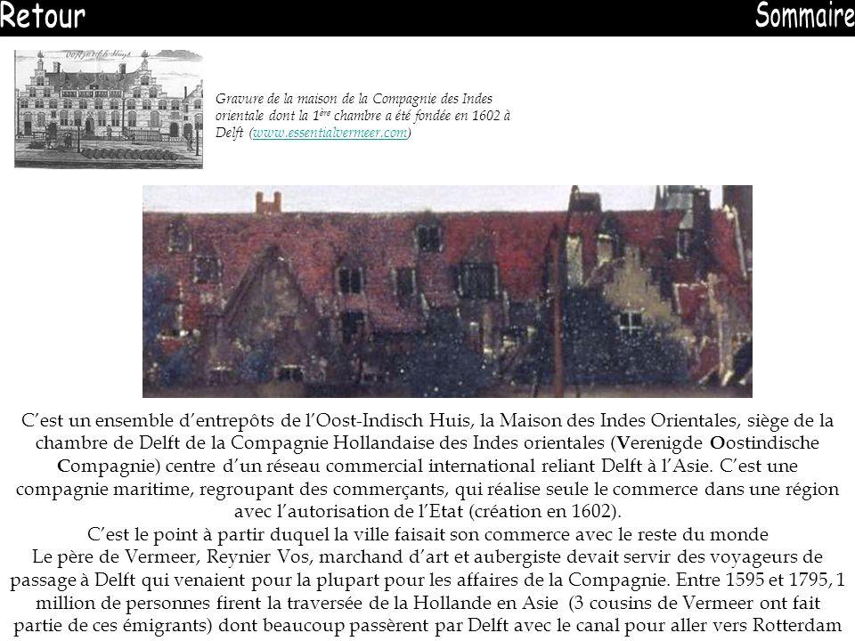 Gravure de la maison de la Compagnie des Indes orientale dont la 1 ère chambre a été fondée en 1602 à Delft (www.essentialvermeer.com)www.essentialver